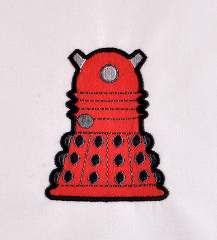 Dalek applique 4x4 machine embroidery design