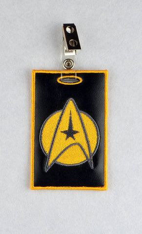 Star Exploration Id Badge holder ITH machine embroidery design 4x4