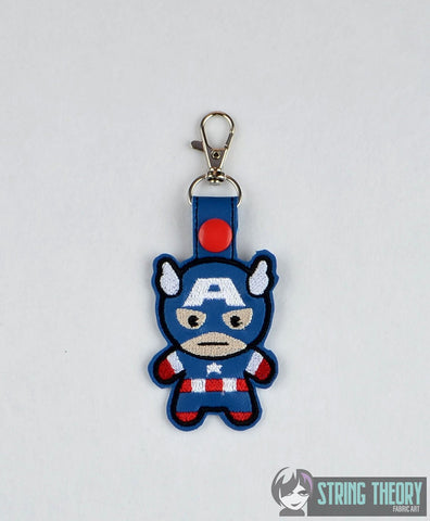 Chibi Captain America snap tab key fob ITH 4x4 machine embroidery design
