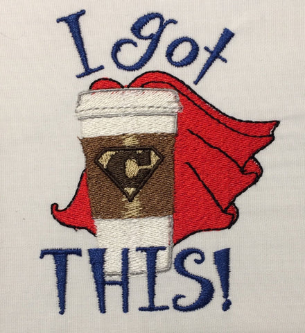 Super Hero Coffee Machine Embroidery Design 4x4