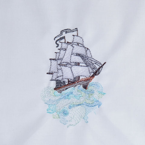 Ship and waves 4x4 machine embroidery design