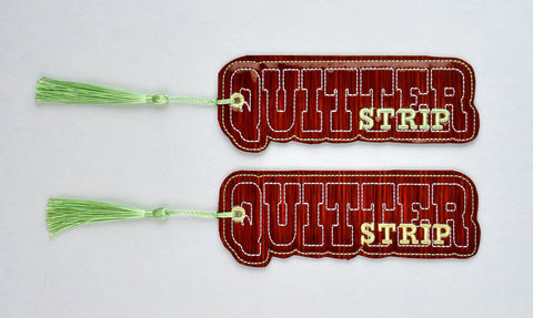 Quitter Strip traditional book mark 2ITH 5x7 ITH machine embroidery design