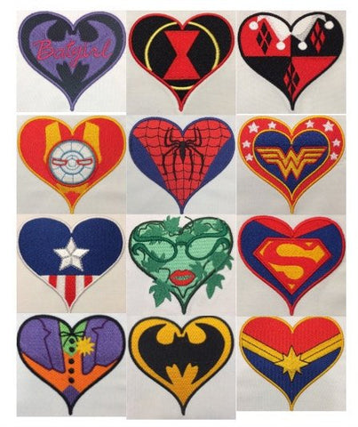 24 comic character hearts machine embroidery design 4x4 and 2.5x2.5