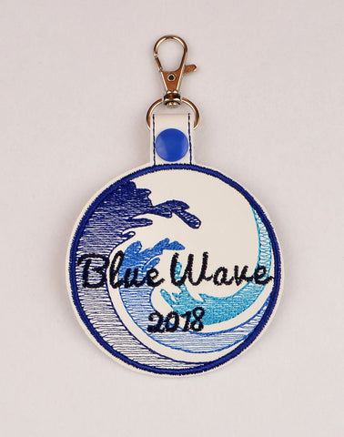 Blue Wave 2018 snap tab key fob ITH 4x4 machine embroidery design
