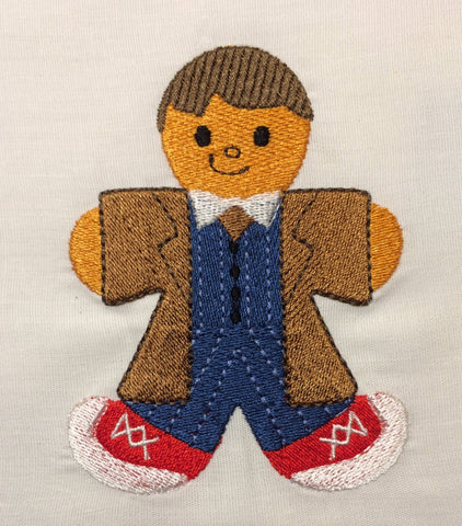 Dr. Space 10th Doctor Gingerbread Man embroidery design 4x4
