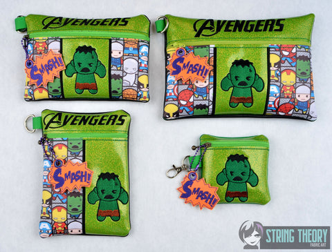Tiny Heroes Hulk zip bag 4 sizes SET with DANGLE ITH machine embroidery designs