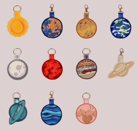 Planet Pack snap tab key fob ITH ELEVEN different designs 4x4 machine embroidery design