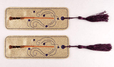 Magic wand 2ITH traditional book mark 5x7 machine embroidery design