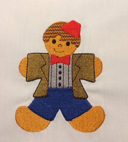11th Doctor Gingerbread Man embroidery design 4x4