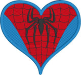 Spider Guy heart machine embroidery design 4x4 and 2.5x2.5