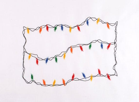 Christmas lights frame 5x7 machine embroidery design
