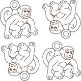 MONKEY ANIMAL CRACKER DANGLES 4ITH 4X4 MACHINE EMBROIDERY DESIGN