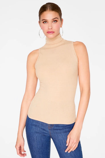 Basic Sleeveless Turtle Neck
