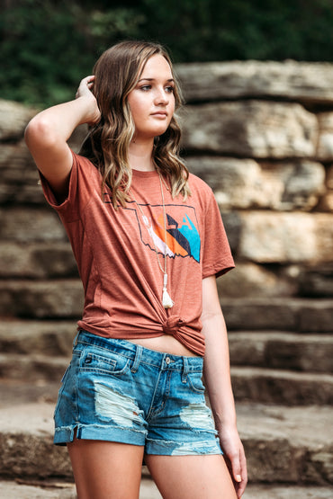 Okla Stripe State Outline Tee