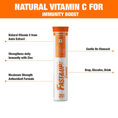 Fast&Up Charge - Vitamin C antioxidant 1000 mg - Natural Amla for Immunity - 20 Effervescent Tablets - Orange flavour