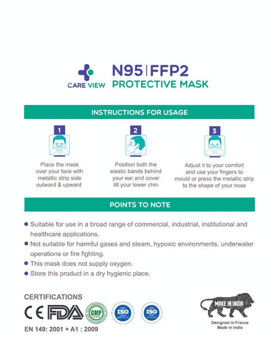 CARE VIEW N95 FFP2 Protective Face Mask (95% Particulate Filtration) (FDA & CE Approved)-Muscle & Strength India