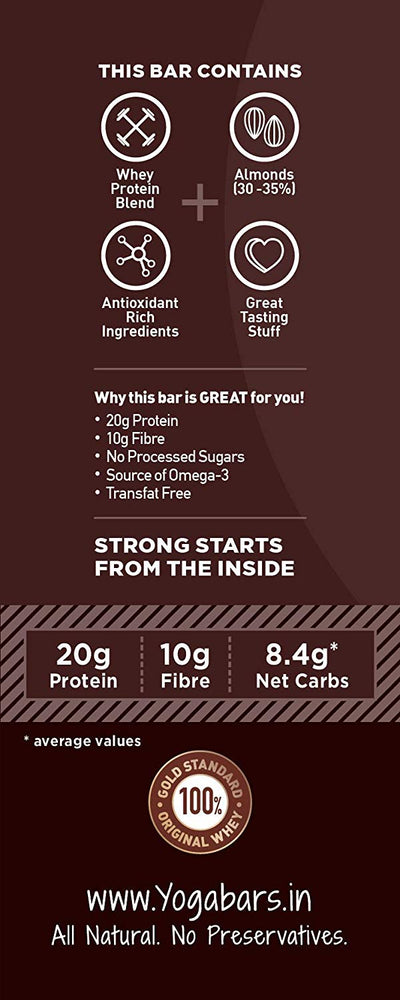 Yogabar Protein Variety Box - 360gm (Chocolate Brownie, Cranberry, Almond Fudge, Hazlenut, Pack of 6, 60gm x 6 Bars )