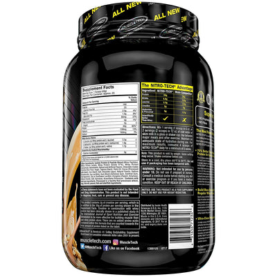 MuscleTech NitroTech Protein Powder Plus Muscle Builder, 100% Whey Protein with Whey Isolate, Chocolate Chip Cookie Dough, 20 Servings (2lbs)