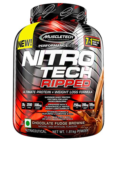 MUSCLETECH NITROTECH RIPPED CHOCOLATE FUDGE BROWINE 1.81 KG