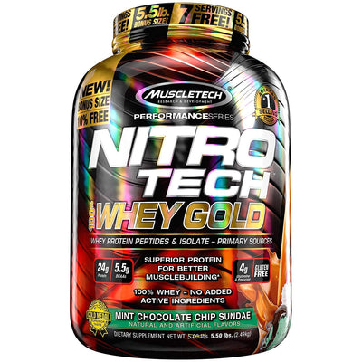 MUSCLETECH NITROTECH WHEY GOLD  5.50 LBS  MINT CHOCOLATE CHIP