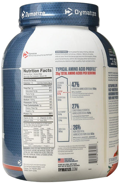 DYMATIZE ISO 100 HYDROLYZED 3 LB STRAWBERRY