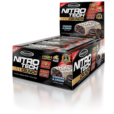 MUSCLETECH NITROTECH CRUNCH BAR 22G COOKIES & CREAM