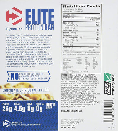 DYMATIZE ELITE PROTEIN BAR CHOCOLATE CHIP COOKIE DOUGH 70G