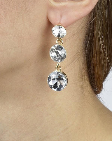 Three-Stone Drop Earrings