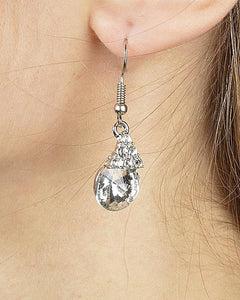 Triangular Crystal Cluster Drop Earring with Multifaceted Crystal Accent