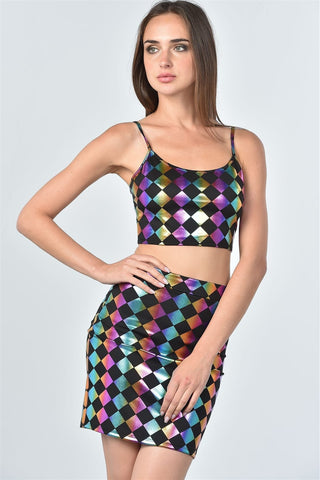 Ladies fashion dark multi color geo print top and skirt two piece set