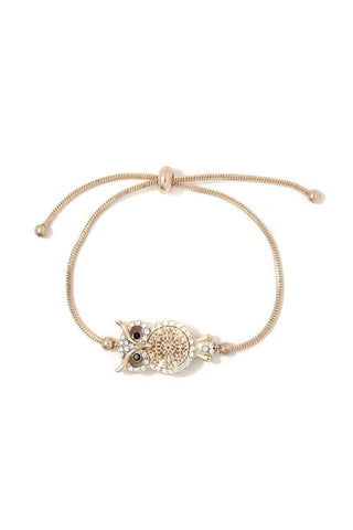 Owl Charm Adjustable Metal Bracelet