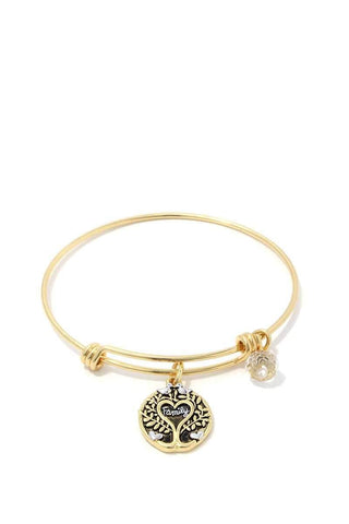 Family Oak Tree Charm Metal Bangle Bracelet