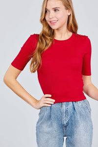 Elbow Sleeve Crew Neck W/shoulder Button Detail Rib Knit Top
