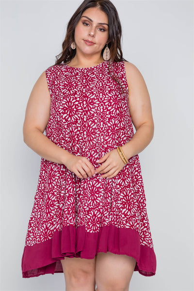 Plus Size Red White Floral Sleeveless Boho Dress