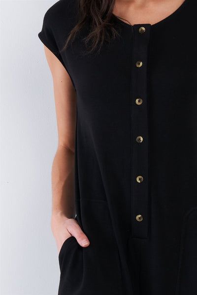 Black Button Up Jumpsuit