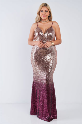 Plus Size Multi Color Sequin Ombre V-neck Gown
