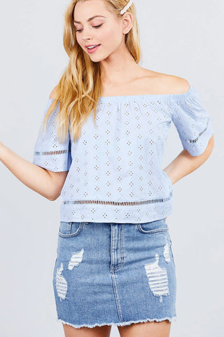 Elbow Sleeve Off The Shoulder Lace Trim Eyelet Detail Woven Top