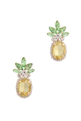 Rhinestone Pineapple Drop Earring