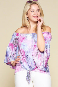 Gorgeous Venezia Tie Dye Paisley Printed Off Shoulder Top