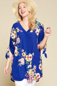 Plus Size Spring Floral Printed High Low, V Neck Fashion Swing Top