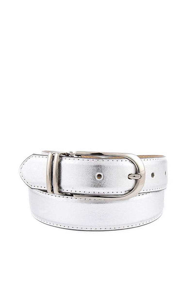 Womens Clamp Round Buckle On One-size-fits-all Plain Feather Edged Dress Belt