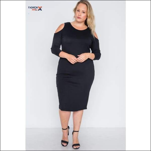 Plus Size Black Ribbed Cold Shoulder Bodycon Dress