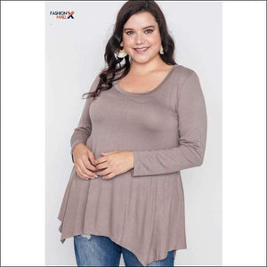 Plus Size Long Sleeve Basic Top
