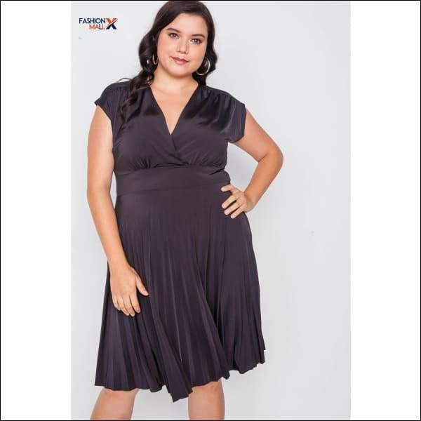 Plus Size Pleat Accordion Fit & Flair Dress