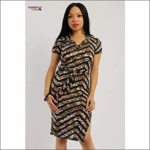 Print Midi Tee Dress With Short Sleeves Collared V