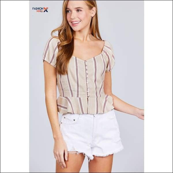 Short Sleeve Button Down Ruffle Hem Print Linen Woven Top