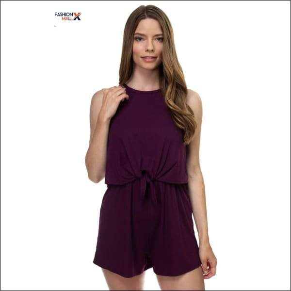 Sleeveless Ribbed Front Tie Romper