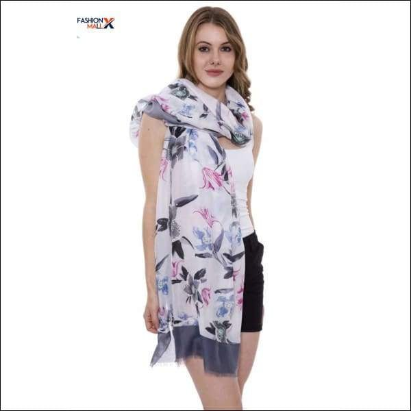 Soft Floral Print Oblong Scarf With Short Trim
