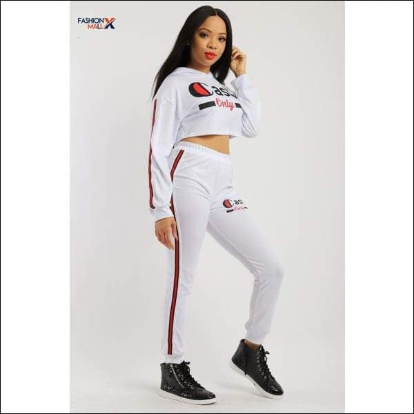 Solid 2 Pieces Sweat Suit Set