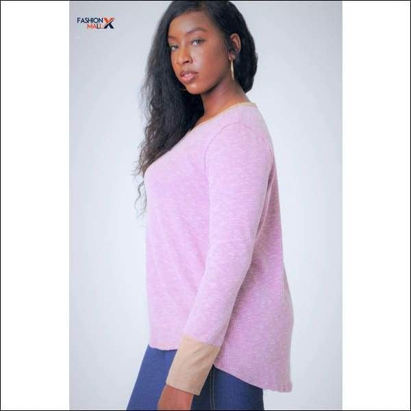Solid Waist Length Long Sleeve Top In A Relaxed